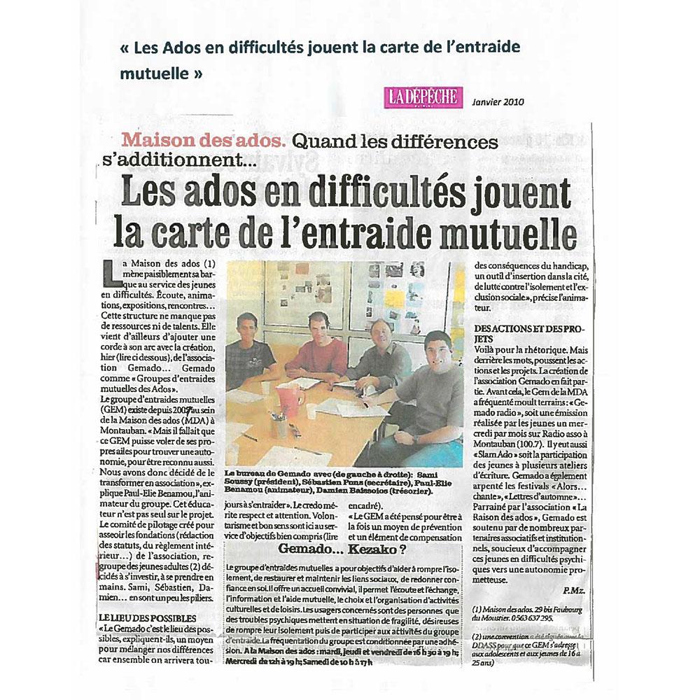 LA DÉPÊCHE DU MIDI 01/2010