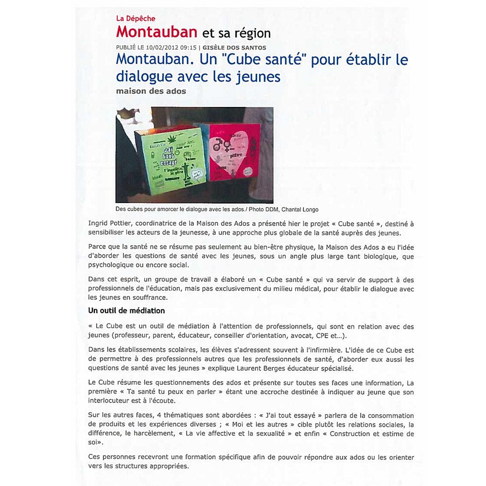 LA DÉPÊCHE DU MIDI 10/02/2012