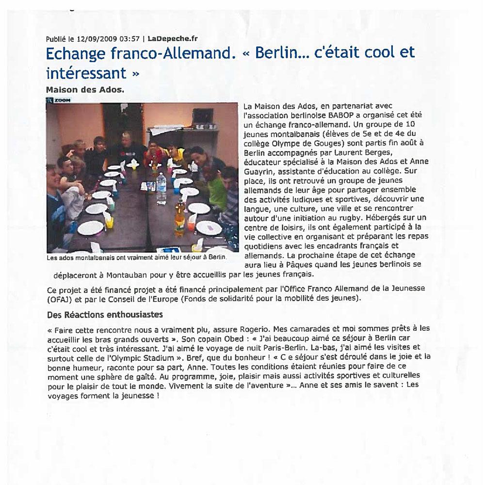 LA DÉPÊCHE DU MIDI 12/09/2009
