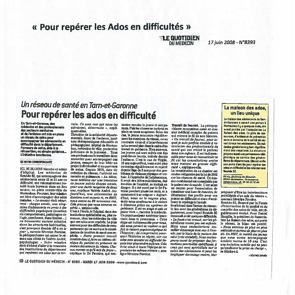 LE QUOTIDIEN DU MÉDECIN 17/06/2008